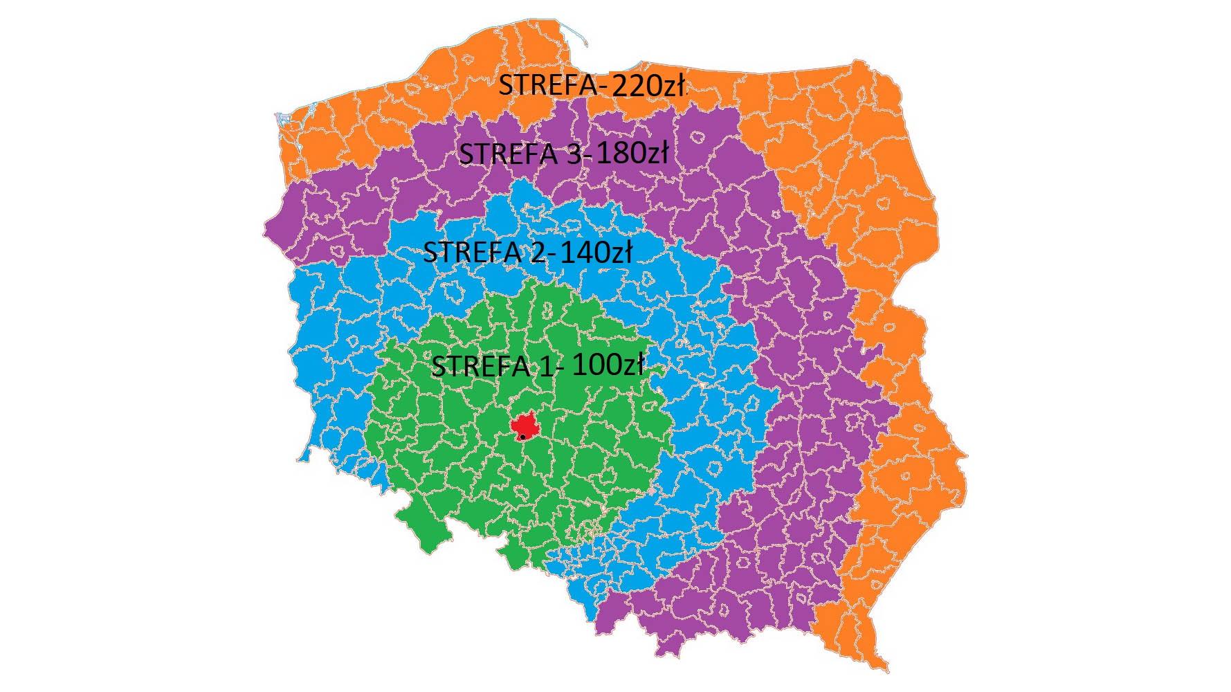 Koszty dostawy - transport na mapie Polski